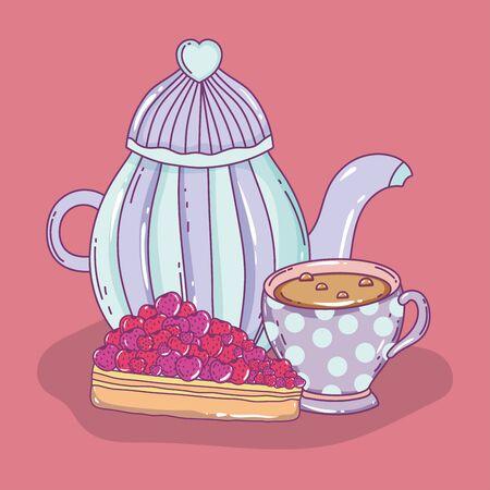 tea time sketch flat design Ilustrace