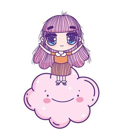 kids, cute little girl anime standing on cloud cartoon Çizim