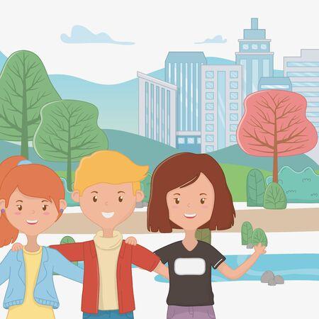 Girls and Boy Friendship design Ilustracja