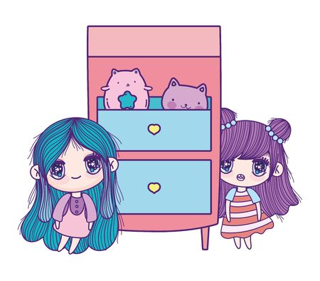 cute little girls cartoon with furniture cabinet and cats toy Ilustração