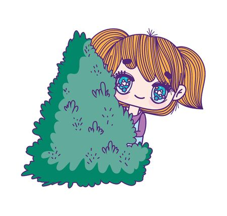 kids, little girl anime cartoon behind bush foliage forest