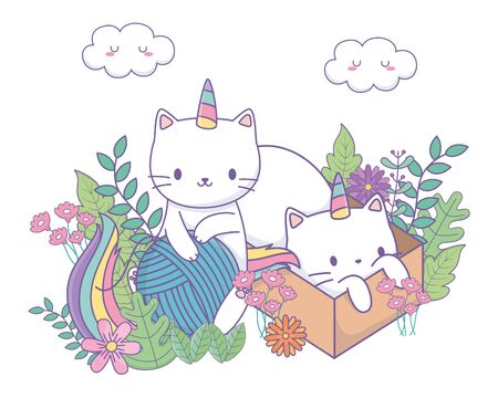 Unicorn cats cartoons vector design