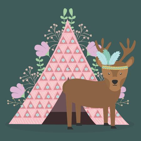 reindeer with feathers hat and tent indian