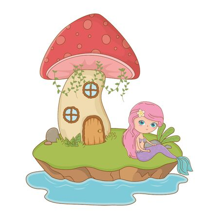 Mushroom house and character design, Fairytale history medieval fantasy kingdom tale game and story theme Vector illustration
