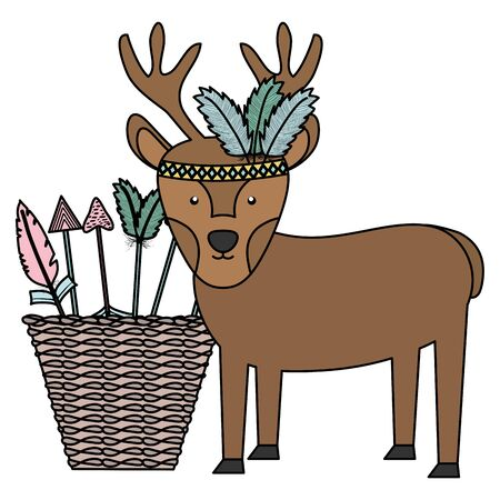 reindeer with feathers hat and basket of arrows bohemian style