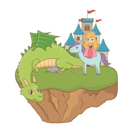 Princess unicorn and dragon design, Fairytale history medieval fantasy kingdom tale game and story theme Vector illustration