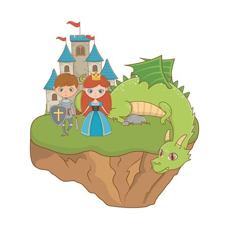 Princess knight and dragon design, Fairytale history medieval fantasy kingdom tale game and story theme Vector illustration