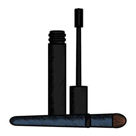 eyelash and brush make up drawing icon