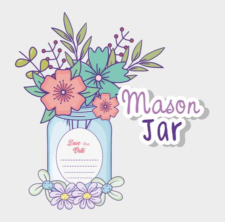 mason jar flowers decoration save the date greeting label vector illustration