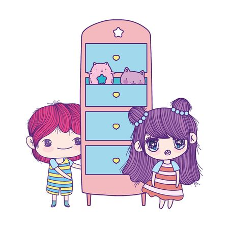 cute little girl and boy cartoon with drawers and toys cats
