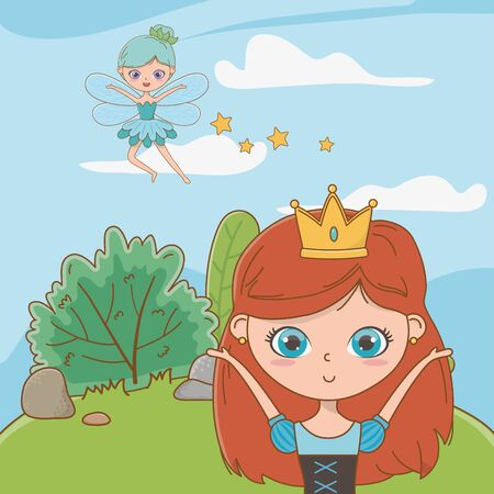 Princess and fairy design, Fairytale history medieval fantasy kingdom tale game and story theme Vector illustration