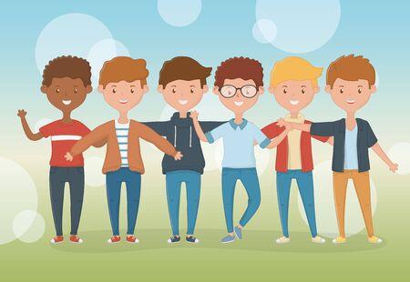 Friendship of boys cartoons design Ilustracja