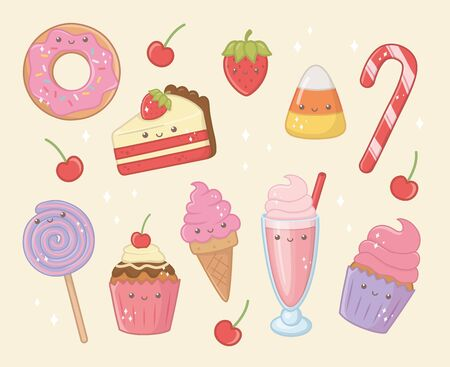 delicious and sweet products kawaii characters