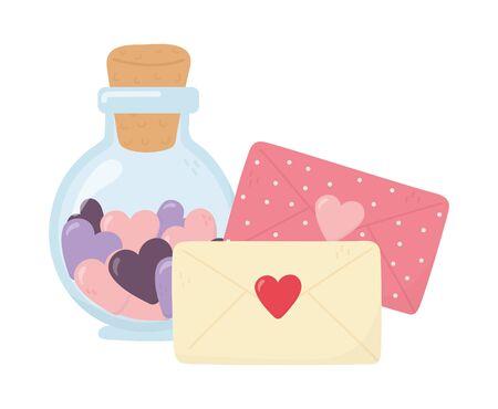 happy valentines day, bottle glass envelope messages letter hearts romantic Vektorgrafik