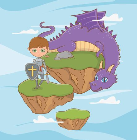 Knight and dragon design, Fairytale history medieval fantasy kingdom tale game and story theme Vector illustration