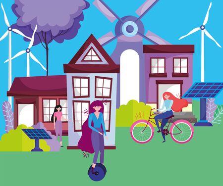 women riding monocycle bike solar panel windmills houses ecology vector illustration