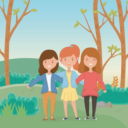 Friendship of girls cartoons design Ilustracja