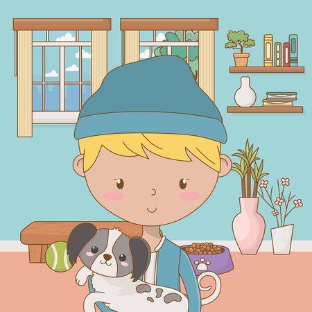 Boy with dog cartoon design 일러스트