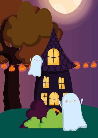 ghosts houses lights pumpkins trick or treat - happy halloween vector illustration