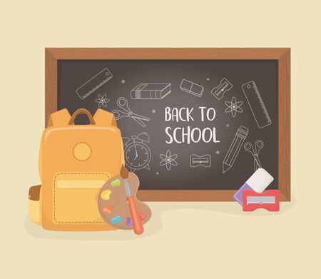 schoolbag with chalkboard and supplies back to school vector illustration design
