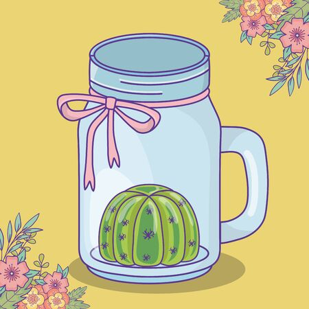 mason jar with cactus flowers and bow decoration vector illustration