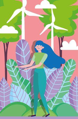 woman friendly environment field wind turbine energy ecology vector illustration