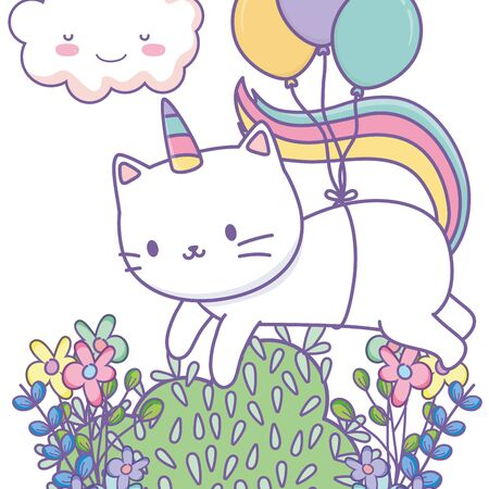 Unicorn cat cartoon design, Magic fantasy fairytale childhood and animal theme Vector illustration