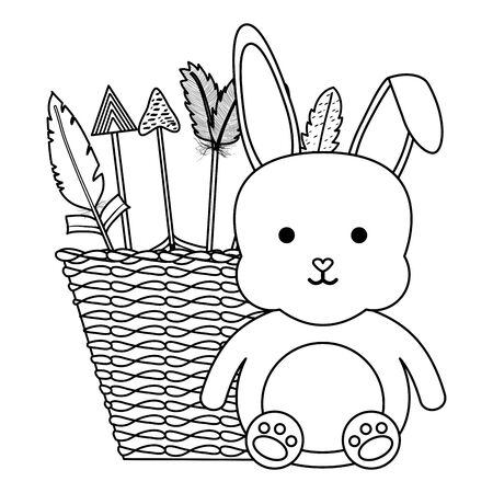 cute little rabbit with basket straw and arrows vector illustration design Vettoriali