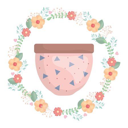 ceramic garden pot with flowers crown decorative Иллюстрация