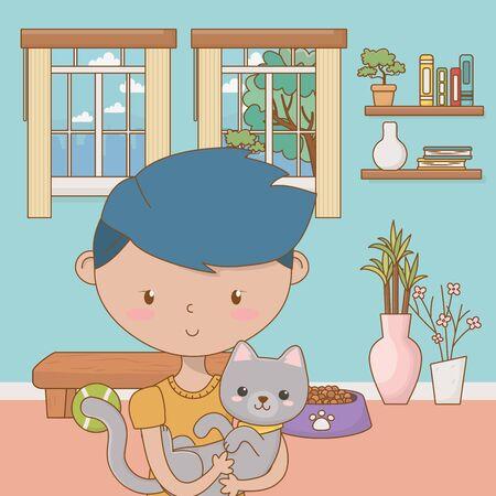 Boy with cat cartoon design 일러스트