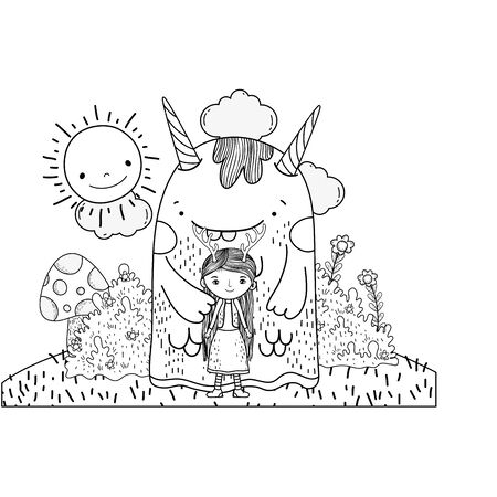 little fairy with monster in the field vector illustration design Ilustrace