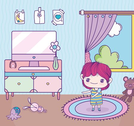 anime lindo niño habitación computadora mesa juguetes ventana Ilustración de vector