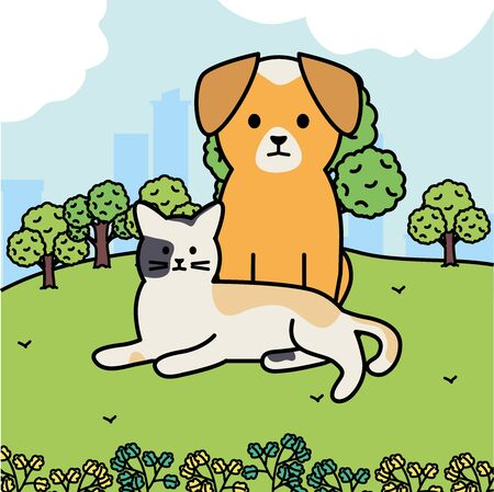 cute cat and dog mascots in the landscape Illustration