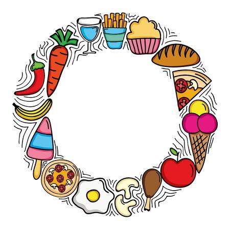 delicious food menu circular frame vector illustration design