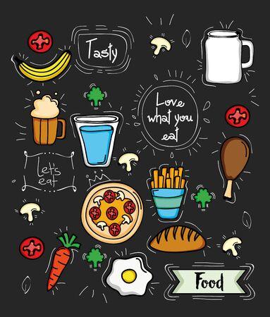 bundle of delicious food pattern background vector illustration design