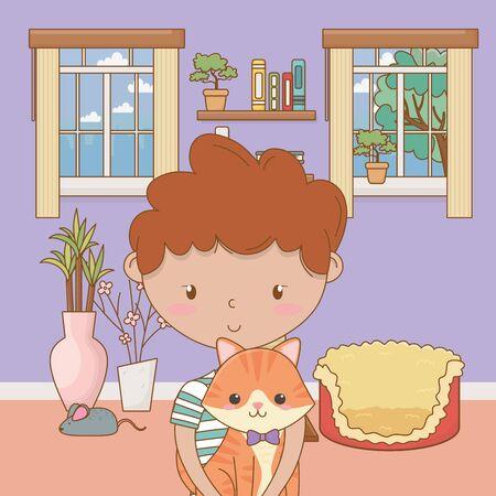 Boy with cat cartoon design, Mascot pet animal domestic cute life nature and fauna theme Vector illustration