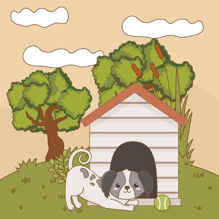 Dog cartoon design, Animal cute zoo life nature and fauna theme Vector illustration