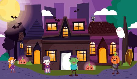 kids with costume halloween in the city street image vector illustration