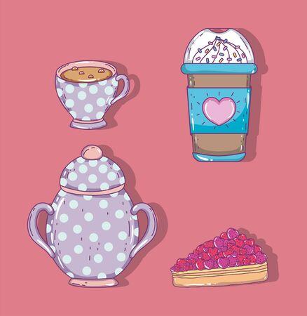 coffee time sketch flat design Иллюстрация