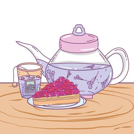 Isolated tea pot and cake design Иллюстрация