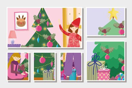 girls decorating trees gifts tree merry christmas, happy new year vector illustration