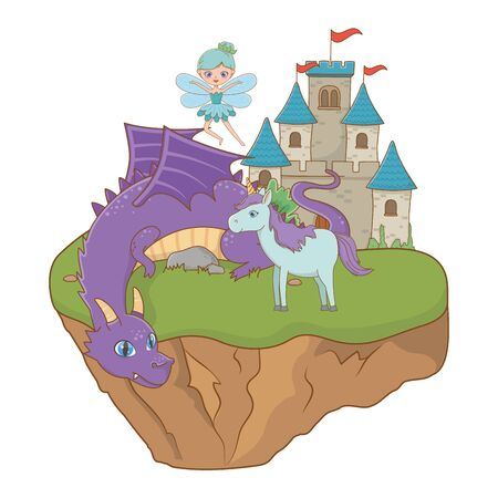 Dragon unicorn and fairy design, Fairytale history medieval fantasy kingdom tale game and story theme Vector illustration