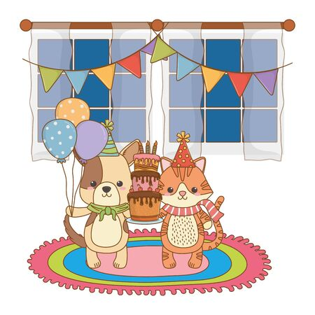 Cartoons with cake design, Animal happy birthday celebration decoration and surprise theme Vector illustration Stock Vector - 138694354