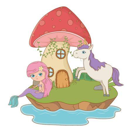 Meerjungfrau- und Einhorn-Design, Märchengeschichte, mittelalterliches Fantasy-Königreich, Märchenspiel und Story-Thema Vektor-Illustration Vektorgrafik
