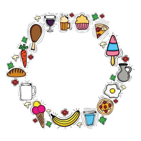 delicious food menu circular frame
