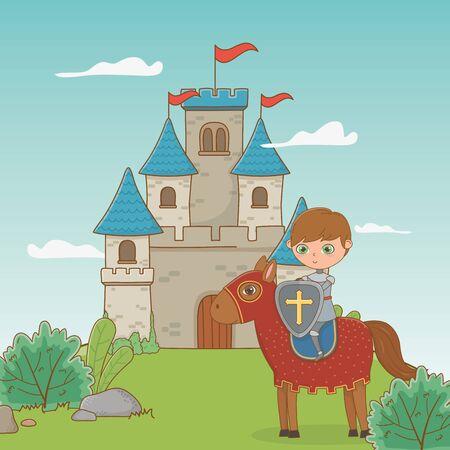 Knight and horse design, Fairytale history medieval fantasy kingdom tale game and story theme Vector illustration Ilustração