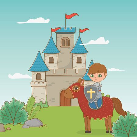 Knight and horse design, Fairytale history medieval fantasy kingdom tale game and story theme Vector illustration Illustration