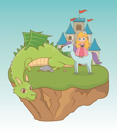 Princess dragon and horse design, Fairytale history medieval fantasy kingdom tale game and story theme Vector illustration