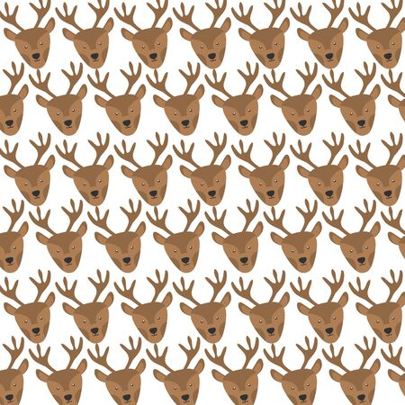 cute reindeer heads pattern background vector illustration design