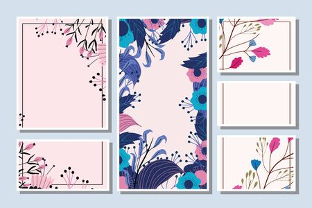 decorative flowers herbs floral wedding cards template vector illustration Ilustração